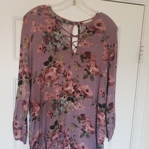 Floral Blouse with Strappy Neck